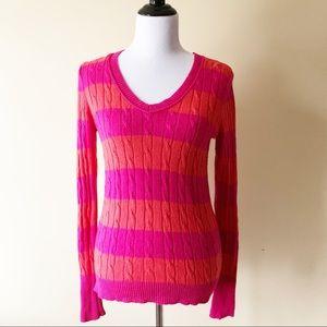 Ann Taylor LOFT Cable Knit Sweater Orange Pink